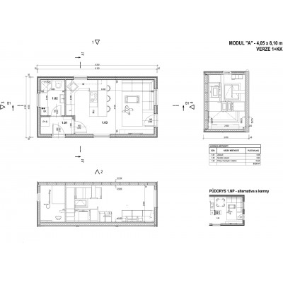 Modulový dům 1-pokojový - půdorys